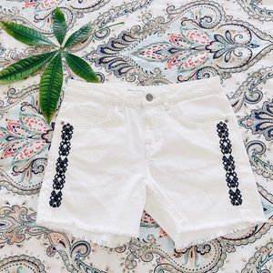 Zara Aztec navy blue embroidered boyfriend shorts